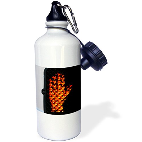 3dRose wb_211981_1 Pedestrian Signal That Shows You Need To Stop Sports Water Bottle, 21Oz, Multicolored