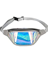 Women Shiny Wasit Bag Fashion Reflective Chest Bag Outdoor Sports Travel Bags (Grey)
