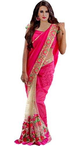 Z Fashion Georgette & Net Saree (Seemo_Saree 208_Pink)