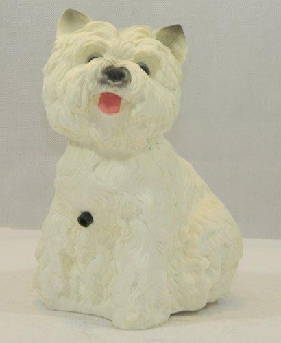 Figur Hund West White Terrier mit Bewegungsmelder H 22cm Tierfigur mit Bewegungsmelder wau-wau (Hund Highland Terrier Figur White)