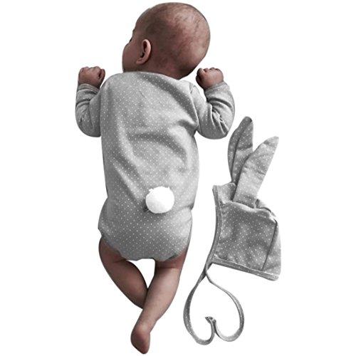 Longra Neugeborenes Baby Mädchen Jungen Bodies Langarm Punkt Kaninchen Spielanzug Overall und Hase Ohr-Hut Unisex Baby Strampler Set Herbst Babykleidung (0 -18 Monate) (90CM 12Monate, Gray)