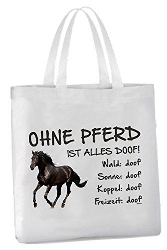 """Einkaufstasche mit Henkel \""""Ohne Pferd ist alles doof!\"""" 45x42cm Rappe Schwarzes Pferd"""