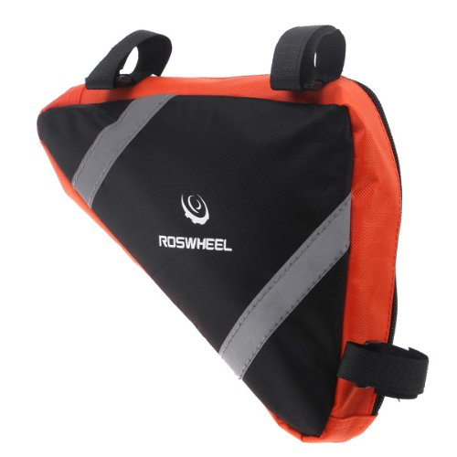 Roswheel Bicycle Bike Bag Front Frame Head Pipe Triangle Bag Storage Pouch 12490 orange und schwarz