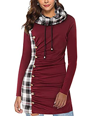 SOLERSUN Women Long Sleeve Cowl Neck Botton Decor Plaid Splicing Ruched Sweatshirts Midi Tunic Dress