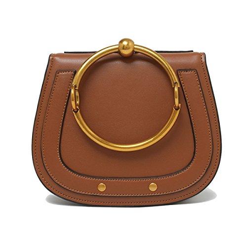 Genuine Leather Modo Anello Borsa Singola Spalla Crossbody Bag Piccolo Per Le Donne Gray1