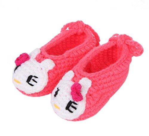Smile YKK 1 Paar One Size Strick Schuh Baby Unisex Liebe Muster Strickschuh 11cm Hellgrün Blüte Kitty Rosa