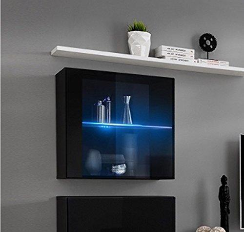 Muebles bonitos lettiemobili – mobile pensile verticale berit in colore nero con led (modulo individuale)