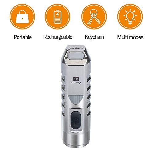 A2 Torch,550 Lumen CREE XP-G3 S5 LED Schlüsselbund Wiederaufladbar EDC Taschenlampe,45 Minuten Schnell Aufladen,Wasserfest Edelstahl Klein Fackel(Silber) -