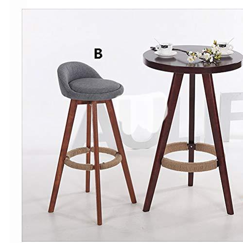 Lrzs-furniture sedia da bar in legno massello sedia da bar girevole retrò sgabello da bar creativo dallo sgabello moderno con piedi alti (colore : b, dimensioni : 80cm)