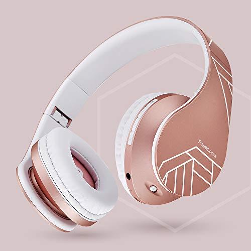 PowerLocus Bluetooth Over-Ear Kopfhörer, Kabellos Stereo Faltbare Kopfhörer Kabellose und Kabel-Kopfhörer mit Integriertem Mikrofon, Micro SD/TF, FM für Handys/iPad/Laptops & PC (Rose Gold) - 6