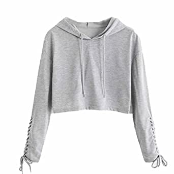 b54987ab6cc ... Hunputa Women s Lace up Bandage Hoodie Short Sweatshirt Jumper Sweater  Pullover Crop