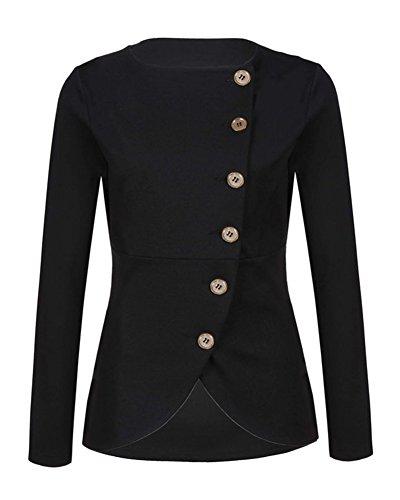 Donna Blazer Suit Tinta Unita Tailleur Giacche Cappotti Top Outwear Slim Nero