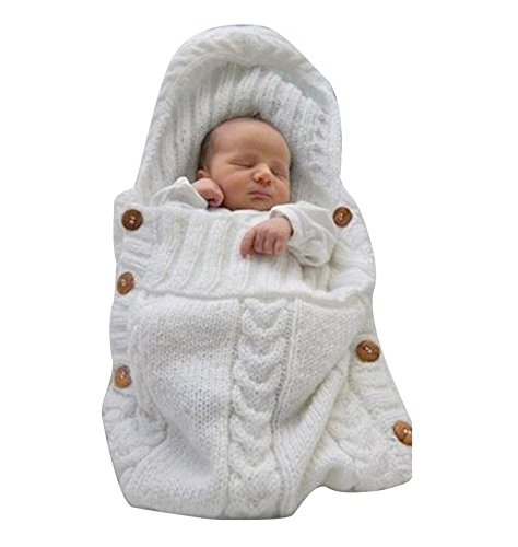 jiaqinsheng recién nacido Wrap Manta para bebé manta de punto lana Saco de dormir Saco Silla de paseo Wrap (blanco)
