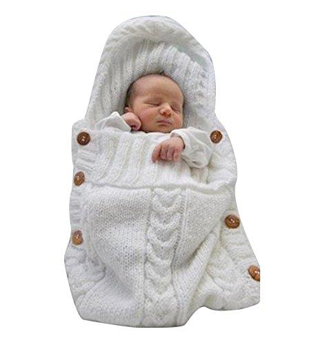 Saco de dormir Jiaqinsheng para recién nacido de lana tejida, color blanco