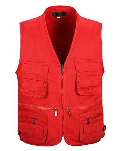 PengGengA Giacca Gilet Con Multi-Tasca Uomo Viaggio Pesca All\'Aperto Senza Maniche Gilet Da Lavoro Rosso 3XL