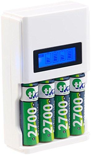 tka Köbele Akkutechnik Akku Schnellladegerät: Schnell-Ladegerät für 4 NiMH- & NiCd-Akkus, 1.800 mA, mit LCD-Display (Ladegerät AA) 2400mah Nicd