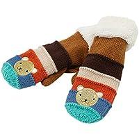 Invierno cálido oso de dibujos animados lindo a prueba de viento mitones niños guantes calientes dedo completo guantes de los niños (azul)