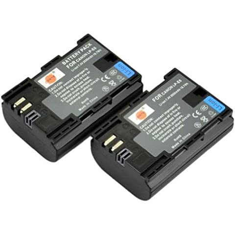 DSTE® 2x LP-E6 Li-ion Batería para Canon EOS 5D Mark II, EOS 5D Mark III, EOS 5DS, EOS 6D, EOS 7D, EOS 60D, EOS 60Da, EOS