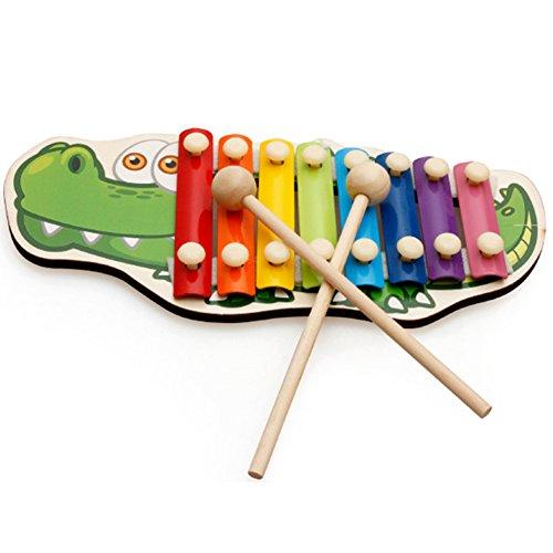 AchidistviQ Holz-Handklopfen mit Musik, Tier-Xylophon, 8 Tasten, Instrument Perkussion, Kinderspielzeug, Krokodil