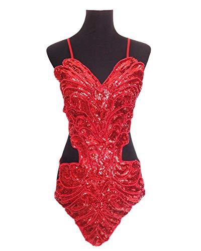 Grouptap Latin Frauen tanzen ausgefallene Pailletten rückenfreie Ballroom Star Show Kleid rot/weiß Top (kein Rock) für Tango Samba Rumba Damen Outfit (Rot, Einheitsgröße)