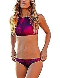 Arrowhunt Damen Mädchen Zweiteilige Neckholder Sport Push Up Bikini Set Badeanzug Bademode