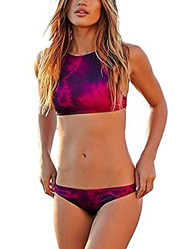 Arrowhunt Damen Mädchen Zweiteilige Neckholder Sport Push Up Bikini Set Badeanzug Bademode (Label L/ DE 36-38, Rot)
