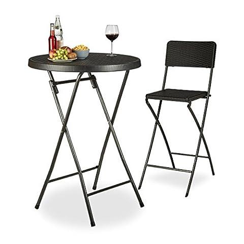 Relaxdays Table haute ronde pliante de jardin BASTIAN optique rotin HxD: 110 x 80 cm résistant bar extérieur,