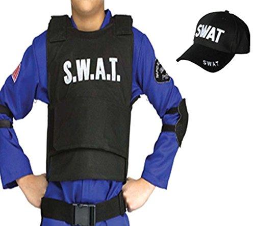 Kugelsichere Kostüm Weste - Kinder Jungen Mädchen SWAT Team Weste & Kappe Kostüm Outfit 5-10YRS Fake Bulletproof Welt Buch Tag/Woche