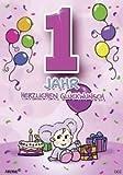 Archie Geburtstagskarte zum 1. Geburtstag Mädchen rosa Glückwunschkarte Kinder