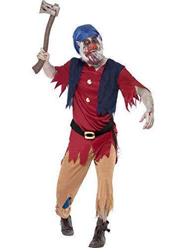 costumebakery - Herren Männer Zombie Horror Zwergen Kostüm mit Oberteil, Hose und Maske, perfekt für Karneval, Fasching und Fastnacht, M, Rot