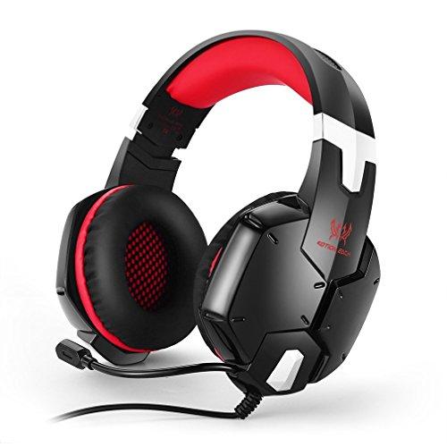 Casque Gamer, KOTION EACH Micro Casque PS4 Gaming Bien Anti-Bruit, Casque Contrôleur Compatible avec PS4, PC, Laptop, Tablette, et Tous les Smartphone (Rouge et Noir)