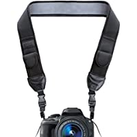 DSLR Camera Neck Strap with Black Neoprene Design and Quick Release Buckles by USA Gear - Works With Canon , Fujifilm , Nikon , Sony and More DSLR , Mirrorless , Instant Cameras