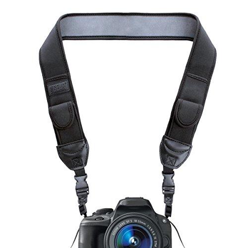 USA Gear Tour de Cou Sangle Appareil Photo Numérique DSLR/SLR, Courroie pour Reflex avec Pochettes de Rangement Rembourrées en Néoprène - Compatible avec Canon EOS, Nikon, Pentax et Plus - Noir