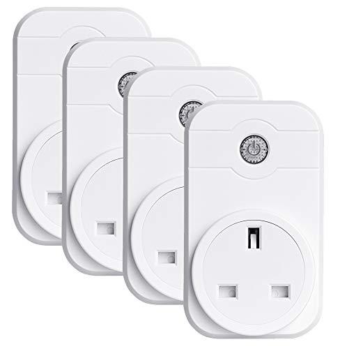 Plug Kompatibel mit Alexa und Google Home Remote Control-Funktion über iOS/Android-Gerät Socket Wireless Kein Hub erforderlich Netzwerk (4-Pack)