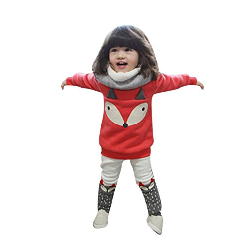 Janly Kleinkind Baby Boy Girl Fox Langarm Sweatshirt Top + Pants Outfits Set Kleidung (3T) (Kleinkind Fox Kostüme)