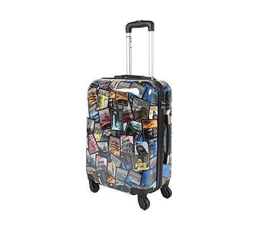Trolley da cabina 50 cm valigia rigida 4 ruote in abs policarbonato stampato a fantasia antigraffio e impermeabile compatibile voli lowcost come Easyjet Rayanair