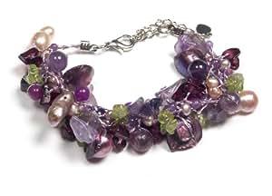 Oi! Purple Mother-of-Pearl, Fresh Water Pearl, Amethyst, Peridot and Garnet on Silk Adjustable (19-25cm) Bracelet