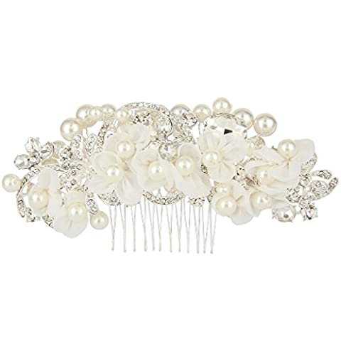 EVER FAITH® Vintange Style Simulated Pearl Flower Lace Crystal Wedding Hair Comb Silver-Tone