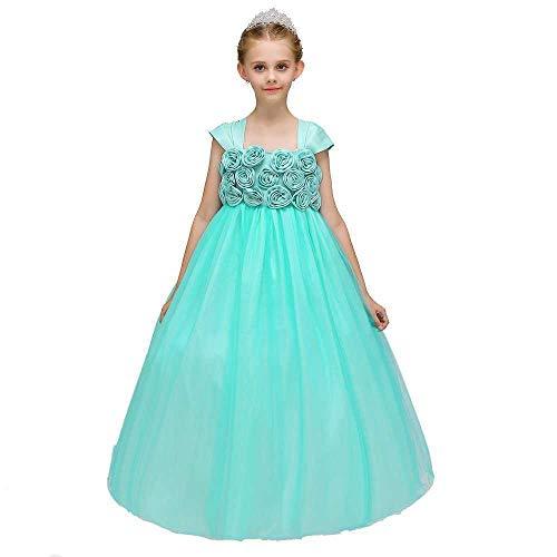 Bademode Mädchen Bowknot Prinzessin Kleid Satin Blumenmädchen Hochzeit Kostüm Klavier Performance Kleidung Kleid Bikinis (Color : Green, Size : 12-13Years) (Extra Länge Schwimmen Kostüm)