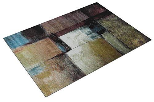 Paco Home Tappeto di Design Moderno Soggiorno Dipinto A Olio Astratto Ruggine Nero Giallo, Dimensione:160x220 cm