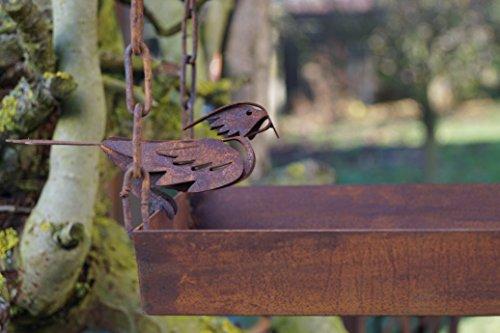 Edelrost Vogelhaus mit Ziervogel zum Aufhängen - 4