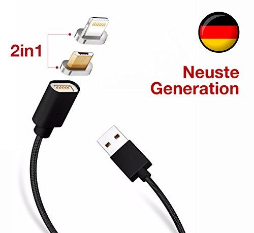 NEUE GENERATION IN BESTER QUALITÄT: 2-in-1 Magnetisches USB Ladekabel passend für iPhone iPad & Android Smartphones Tablets - DEUTSCHE MARKE - Datenkabel mit Micro-USB &  Magnet (Schwarz)