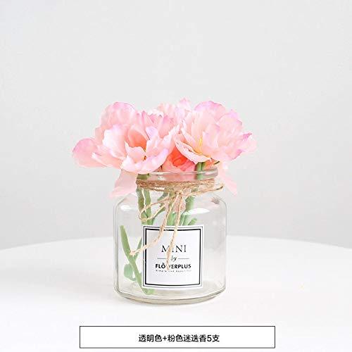 LXFLY Hochwertige Handvase Glas transparent gefälschte Blume Sonnenblume Rose Bouquet Kunstblume Dekoration Wohnzimmer Blumenschmuck transparent rosa Rose Blume 5