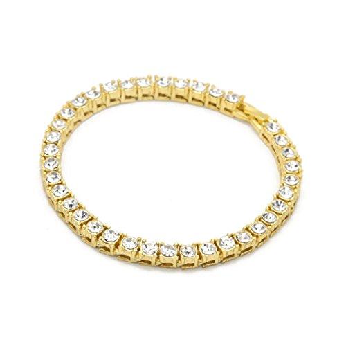 EARS Men Bracelet Series Hip Hop Herren Armband Serie Strass Armband Kette Bling Kristall Armband (Gold)