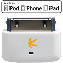 KOKKIA i10s -  Pequeño transmisor Bluetooth para iPod/iPhone/iPad con autentificación real Apple. Control remoto y control de volumen local para iPod/iPhone/iPad. Instalación automática, totalmente compatible con la 6ª generación de iPod Nano, la 4ª generación de iPod Touch, iPhone 4S y iPad 3. - Blanco Lujoso