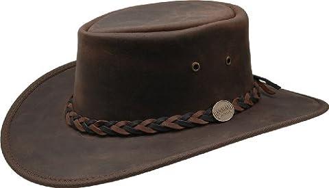 Barmah - Squashy Bronco - Australian Leather Hat M (55-56) (Australian Outback Kostüm)