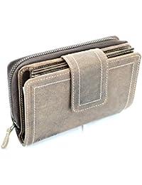 b2d68b04f17a8 Lozano Damen Geldbörse mit 28 Kartenfächern großes und kompaktes Wild Leder  Portemonnaie