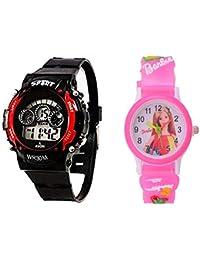 Swadesi Stuff Kids Digital Seven Light Red Analog Digital Barbie Pink Girl's & Boys Watch Combo