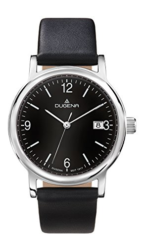 Dugena Men's Elegant Quartz Watch with Quartz Dial Analogue Display and Black Leather Strap