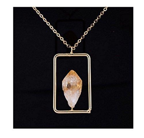 citrino cristallo ciondoli collane Raw semi-preziose pietra collana da donna placcato oro catena irregolare
